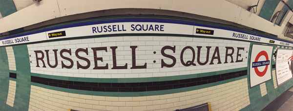 Russell Square Underground Station.